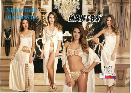 6Pc Bridal Silk Gown Set Stylish Sleepwear