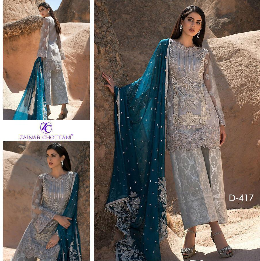 ZAINAB CHOTTANI CHIFFON - HEAVY EMBROIDERED DRESS