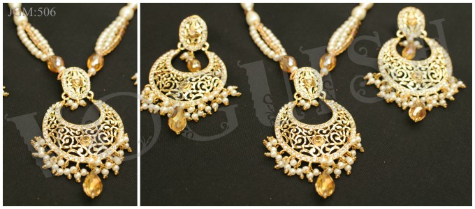 Cut Pearl Moon Set (Gold Plated / New Arrival)