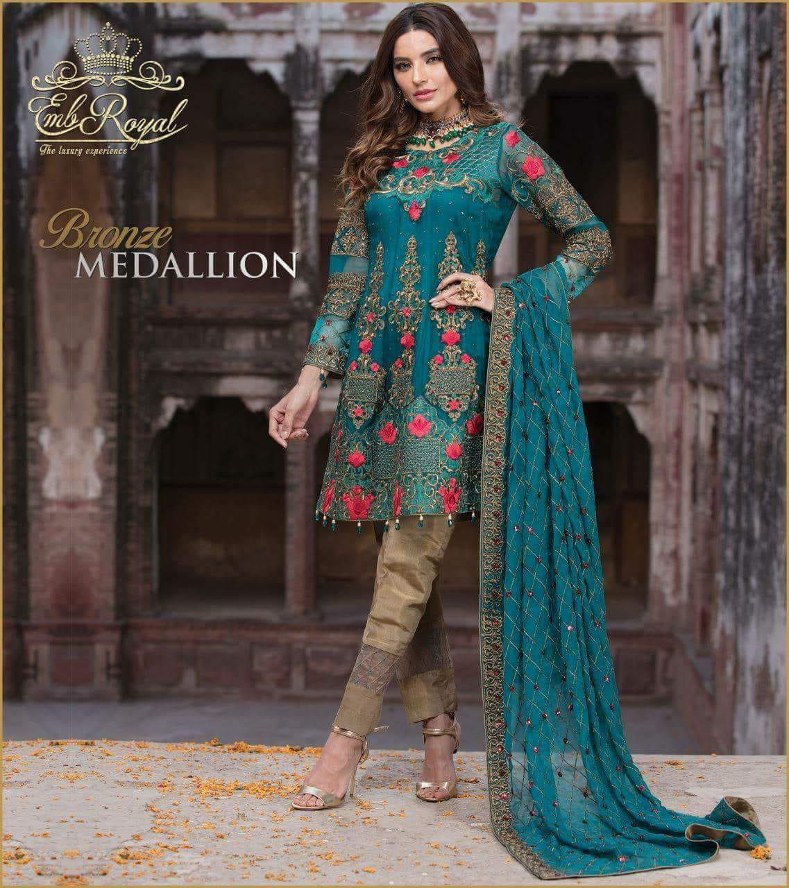 Emb Royal Chiffon - 3 Pc