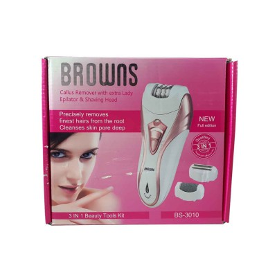 Epilator, Callous Remover & Shaver - Browns BS-3010 - 3 In 1