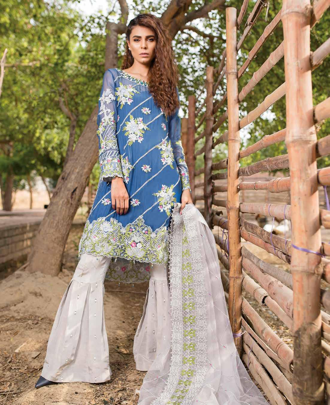 Indigo Gleam - Emb Royal - Chiffon - 3pcs